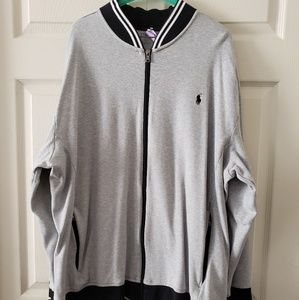 Men's Grey Polo Ralph Lauren Sweat Jacket Size 3X